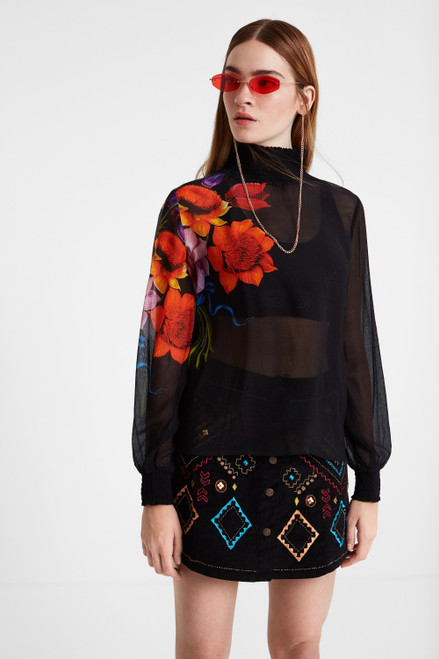 Silk and Viscose Blouse with Elasticated Neck and Cuffs