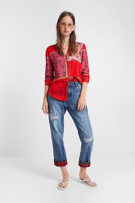 Red Floral Patchwork Shirt