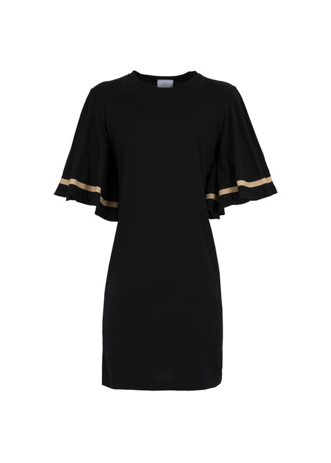 Jijil Collection Black Flutter Sleeve Short Dress
