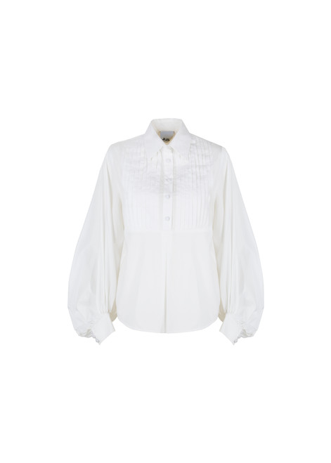 Jijil Collection White Tuxedo Long Sleeve Shirt
