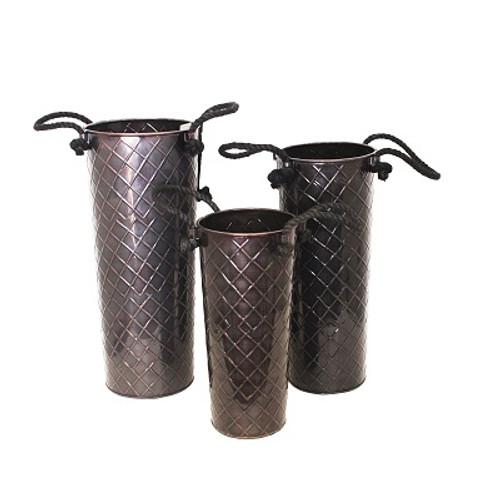 Set of 3 Glossy Bronze Rope Handled Flower Buckets