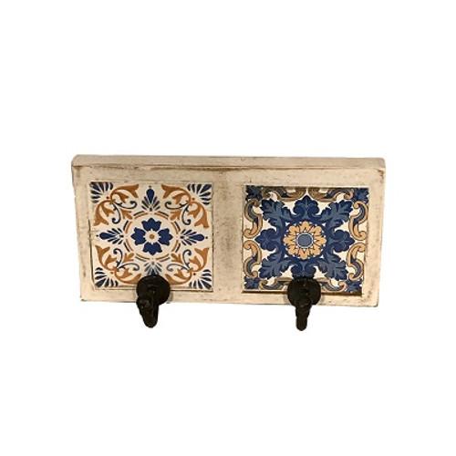 Azulejos 2-Hook Tile Wall Rack