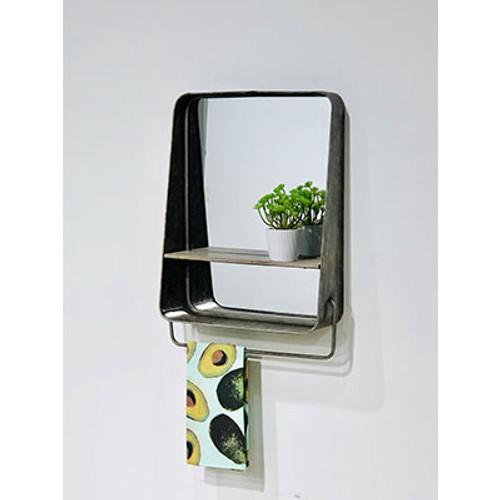 Mid Century Home Large Vanity Mirror Shelf with Towel Bar