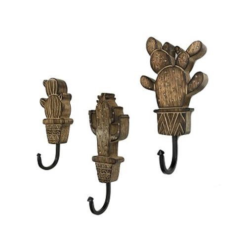Set of 3 Wood Cactus Wall Hooks