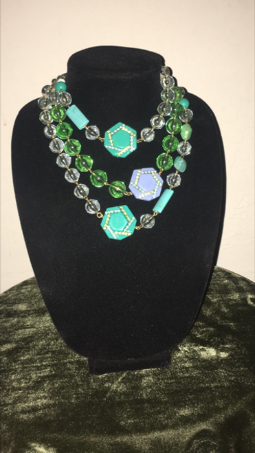 Color My Life- Necklace, Purple and Teal with clear and green beads.