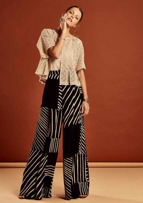 beautiful Equatorial print long pants. 100% Viscose.