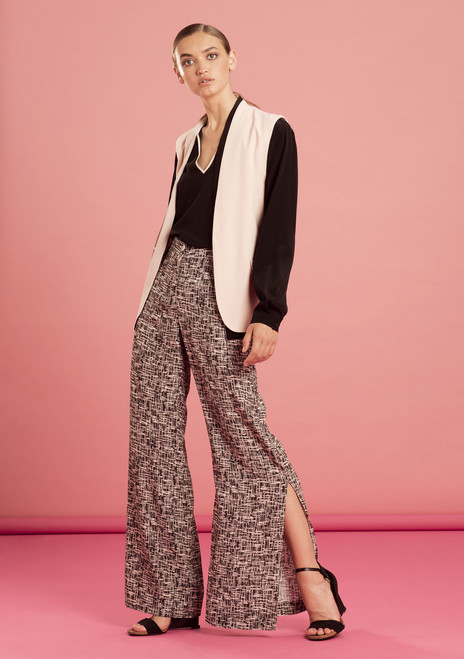 Cross Hatch Wide Leg Pants with Slit.