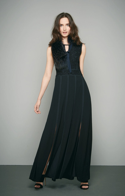 Vendome Place Black Long Sleeveless Dress with Lace Top.