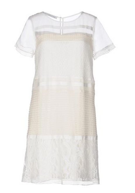 crochet and lace dress with sheer sleeves and neckline