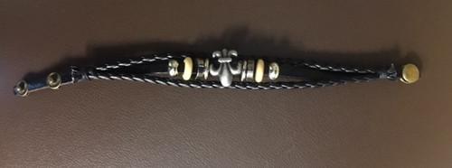 trendy bead and leather bracelet