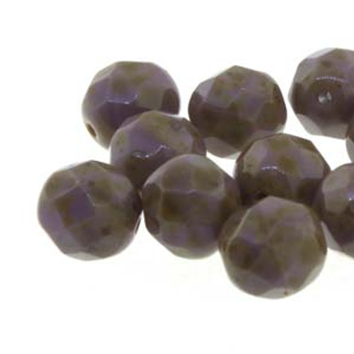 Czech Fire Polished Faceted Round Beads PURPLE TRAVERTINE 8mm [20 pcs/strand]