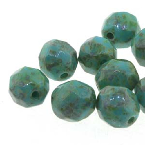 Czech Fire Polished Faceted Round Beads TURQUOISE GREEN TRAVERTINE 6mm [25 pcs/strand]