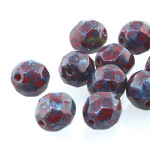 Czech Fire Polished Faceted Round Beads RED TRAVERTINE 8mm [20 pcs/strand]