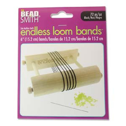 "Endless Loom Bands 6""/15.2cm, Black [72 pcs]"