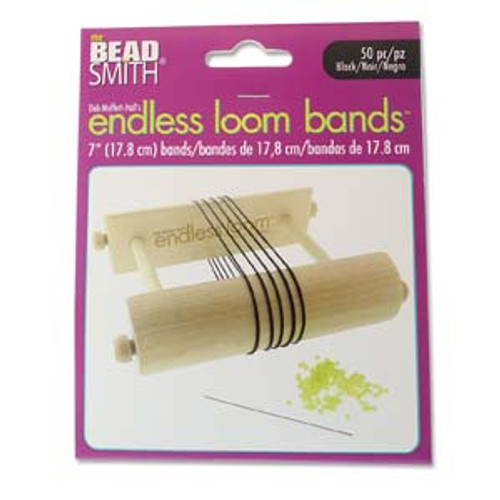 "Endless Loom Bands 7""/17.8cm, Black [50 pcs]"