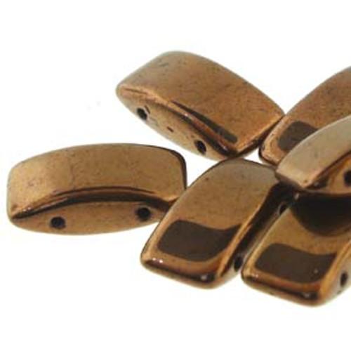 Czech Glass 2-hole Carrier Beads 9x17mm, BRONZE [15 bds/strand]