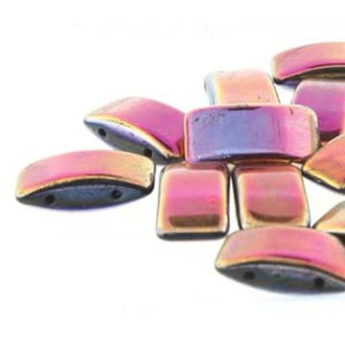 Czech Glass 2-hole Carrier Beads 9x17mm, SLIPERIT [15 bds/strand]