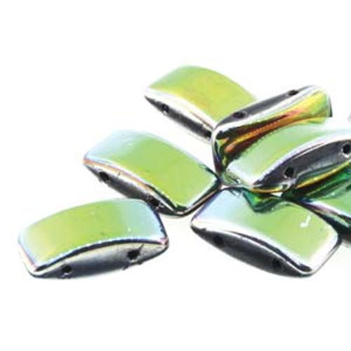 Czech Glass 2-hole Carrier Beads 9x17mm, VITRAIL [15 bds/strand]