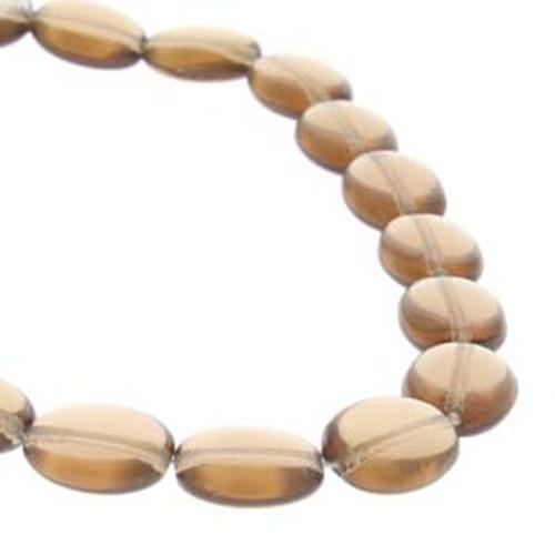 Czech Glass Flat Oval Beads 9x12mm, Smoked Topaz [25 bds/strand]