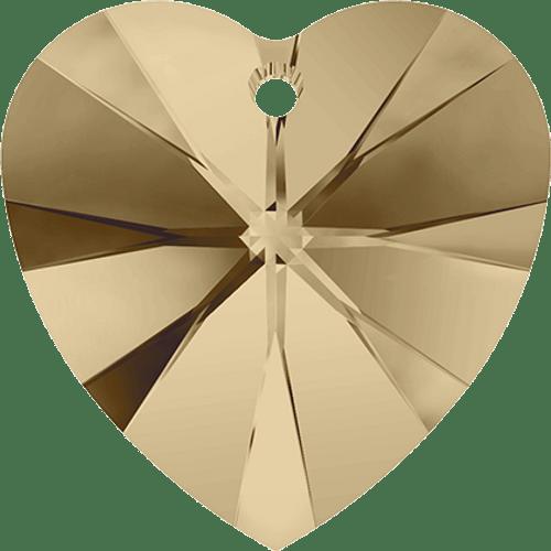 Swarovski 6202 / 6228 Heart Pendant 10mm CRYSTAL GOLDEN SHADOW [2 pcs]