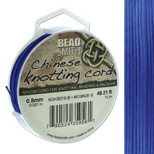 Macrame / Chinese Knotting Cord, Neon Deep Blue, 0.8mm (15 metres)