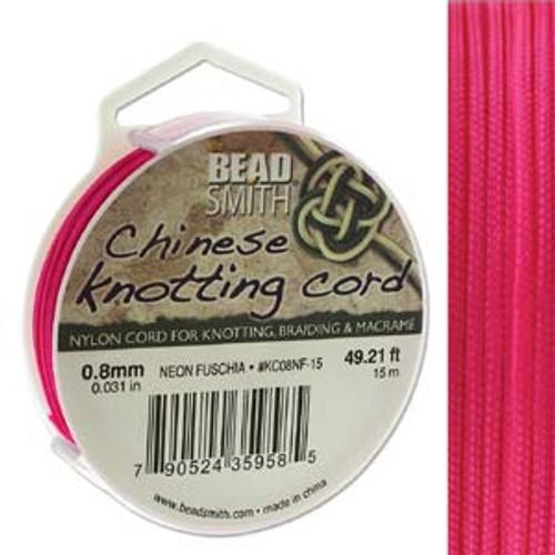 Macrame / Chinese Knotting Cord, Neon Fuchsia, 0.8mm (15 metres)