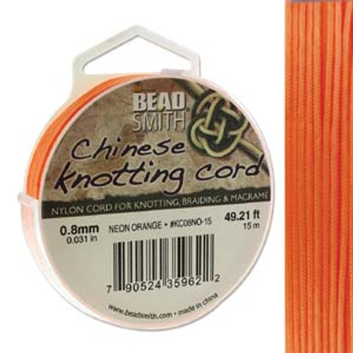 Macrame / Chinese Knotting Cord, Neon Orange, 0.8mm (15 metres)