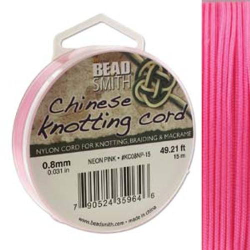 Macrame / Chinese Knotting Cord, Neon Pink, 0.8mm (15 metres)