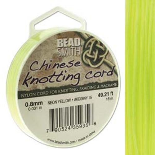 Macrame / Chinese Knotting Cord, Neon Yellow, 0.8mm (15 metres)