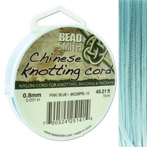 Macrame / Chinese Knotting Cord, Powder Blue, 0.8mm (15 metres)