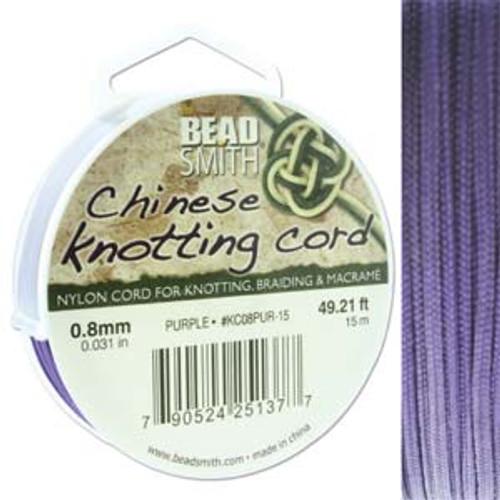 Macrame / Chinese Knotting Cord, Purple, 0.8mm (15 metres)