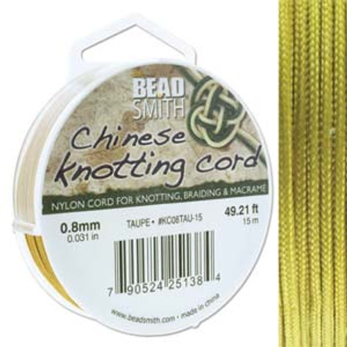 Macrame / Chinese Knotting Cord, Taupe, 0.8mm (15 metres)