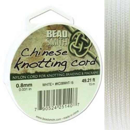 Macrame / Chinese Knotting Cord, White, 0.8mm (15 metres)