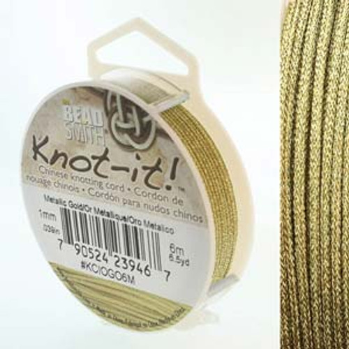 Macrame / Chinese Knotting Cord, Metallic Gold, 1mm (6 metres)