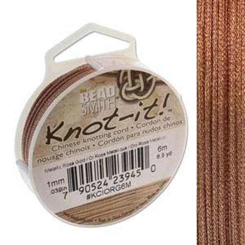 Macrame / Chinese Knotting Cord, Metallic Rose Gold, 1mm (6 metres)