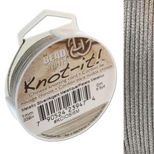 Macrame / Chinese Knotting Cord, Metallic Silver, 1mm (6 metres)