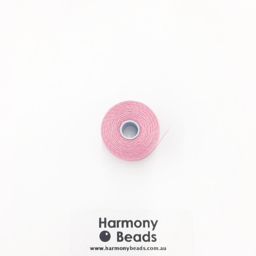S-Lon (Nymo) Bead Cord, Pink, Size D, (78 yards/71 metres)