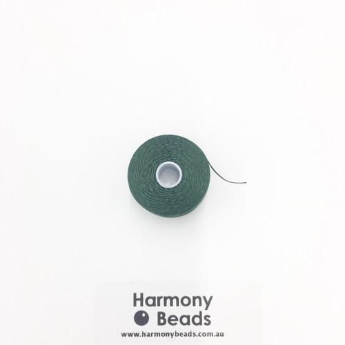S-Lon (Nymo) Bead Cord, Dark Green, Size D, (78 yards/71 metres)