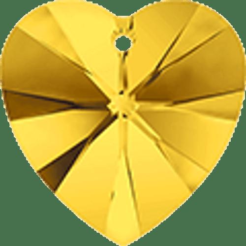 Swarovski 6202 / 6228 Heart Pendant 10mm Topaz [2 pcs]