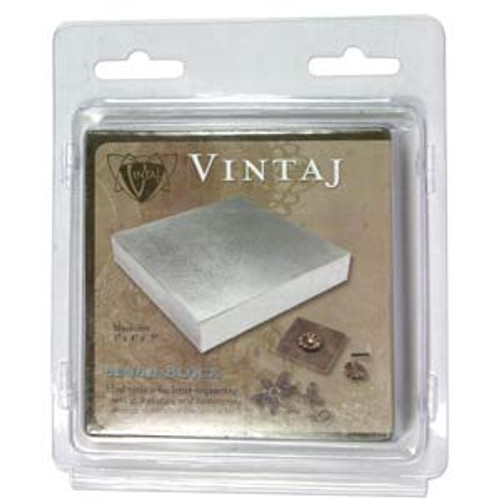 "Vintaj Steel Bench Block 4""x4""x0.5"""
