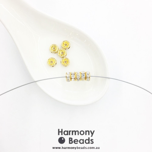 Rondelle Spacers 6mm, Crystal Clear Diamante in Gold Plate [10 pcs]