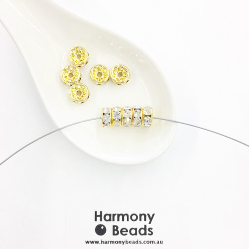 Rondelle Spacers 8mm, Crystal Clear Diamante in Gold Plate [10 pcs]