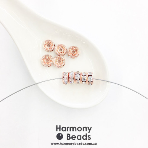 Rondelle Spacers 8mm, Crystal Clear Diamante in Rose Gold Plate [10 pcs]