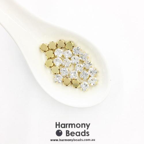 Sew-On Single Stone Setting Glass Rhinestone, Crystal Clear, 6mm GOLD [25 pcs]