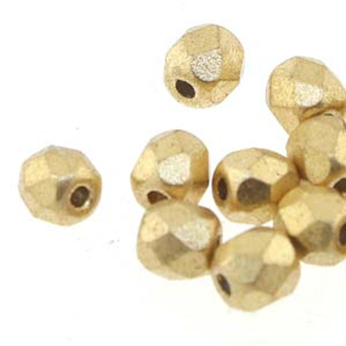 Czech Fire Polished Faceted Glass Beads BRONZE PALE GOLD 3mm [50 pcs/strand]