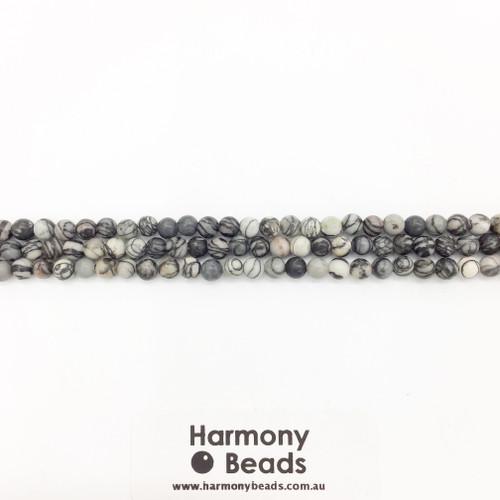 Netstone / Picasso Stone, Smooth Round Beads, Natural, 4mm