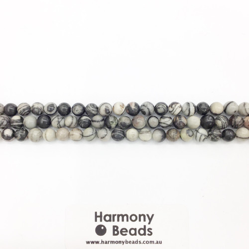 Netstone / Picasso Stone, Smooth Round Beads, Natural, 6mm