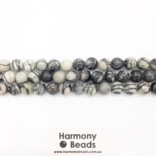 Netstone / Picasso Stone, Smooth Round Beads, Natural, 10mm