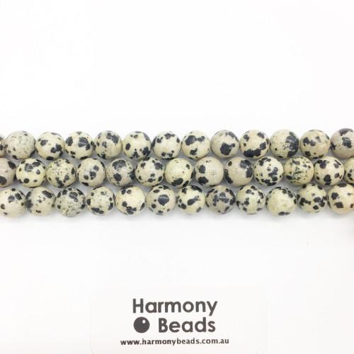 Dalmatian Jasper Smooth Round Beads, Natural, 8mm