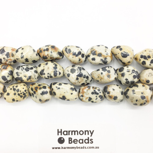 Dalmatian Jasper Shaped Beads, Smooth Nugget, Natural, 15x20mm